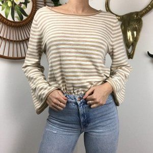 J. Crew Factory Tan White Striped Bell Sleeve Top